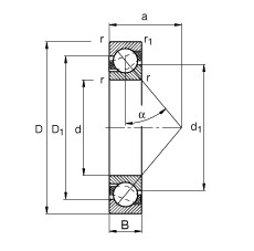 FAG الزاوي الاتصال الكرات - 7416-B-XL-MP
