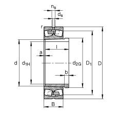 FAG محامل كروية - 241/670-B-K30-MB + AH241/670-H
