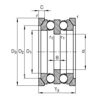 FAG محوري الأخدود العميق الكرات - 54220 + U220